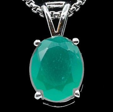 Genuine Emerald Green Stone Pendant Necklace