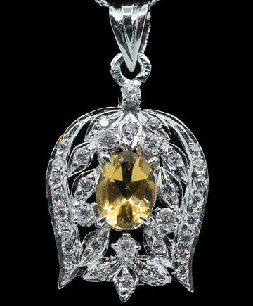 Genuine Yellow Citrine & White Sterling Silver Pendant Necklace