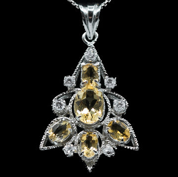 Citrine Graduate Leaf Pendant with White Sterling Silver