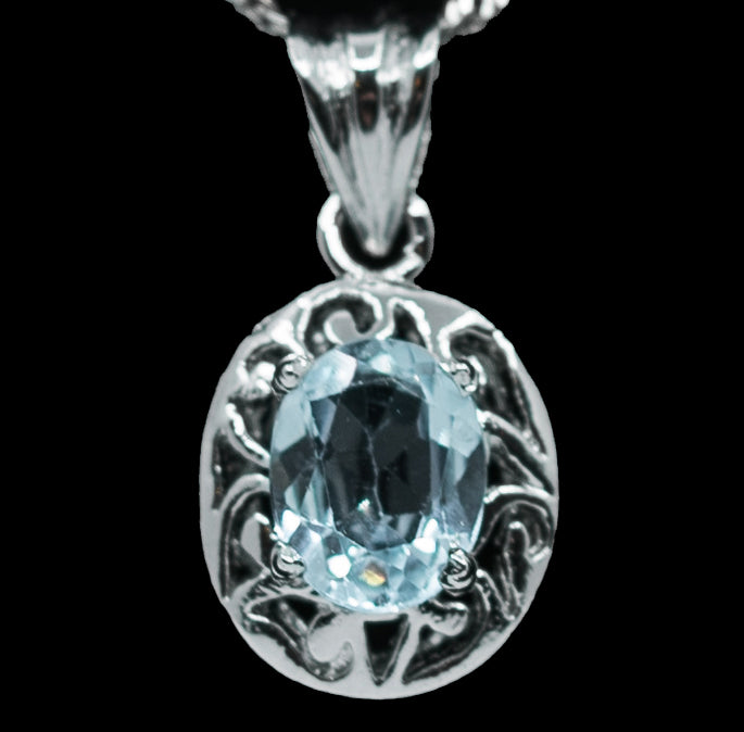 Round Blue Sapphire Drop Pendant with Sterling Silver Halo