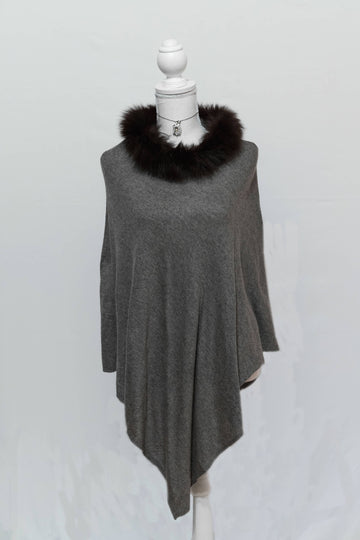 Charcoal & Black Cashmere Poncho