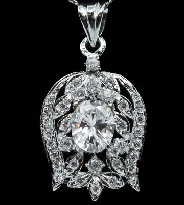 Cubic Zirconia Inverse Rose Pendant With White Sterling Silver