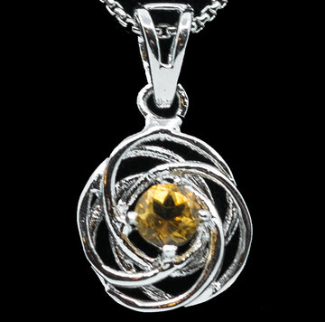 Genuine Citrine Halo Swirl with Whiter Sterling Silver