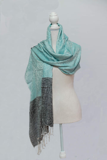 Cashmere Teal & Grey with Tassle