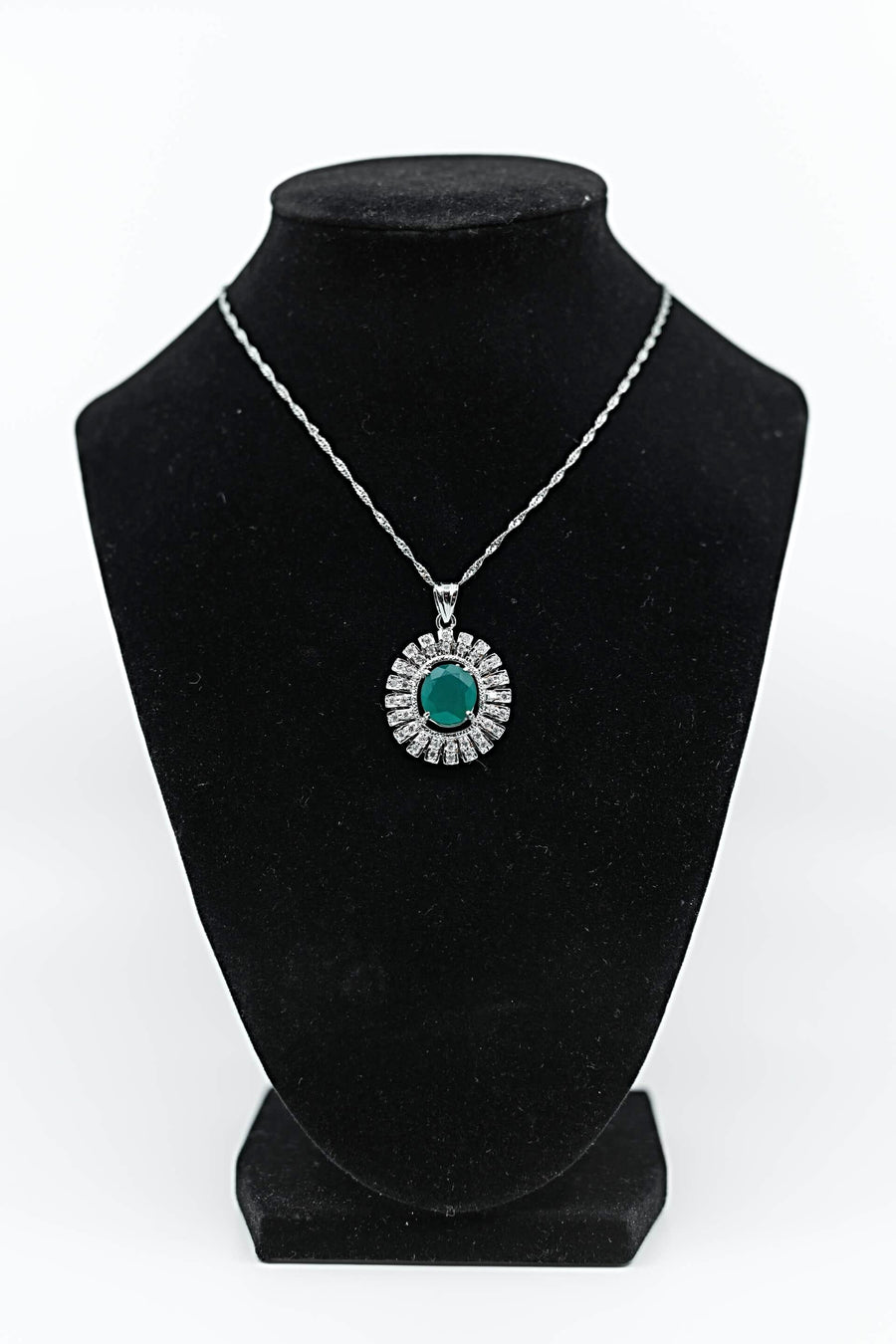 Genuine Green Topaz & White Sterling Silver Pendant Necklace