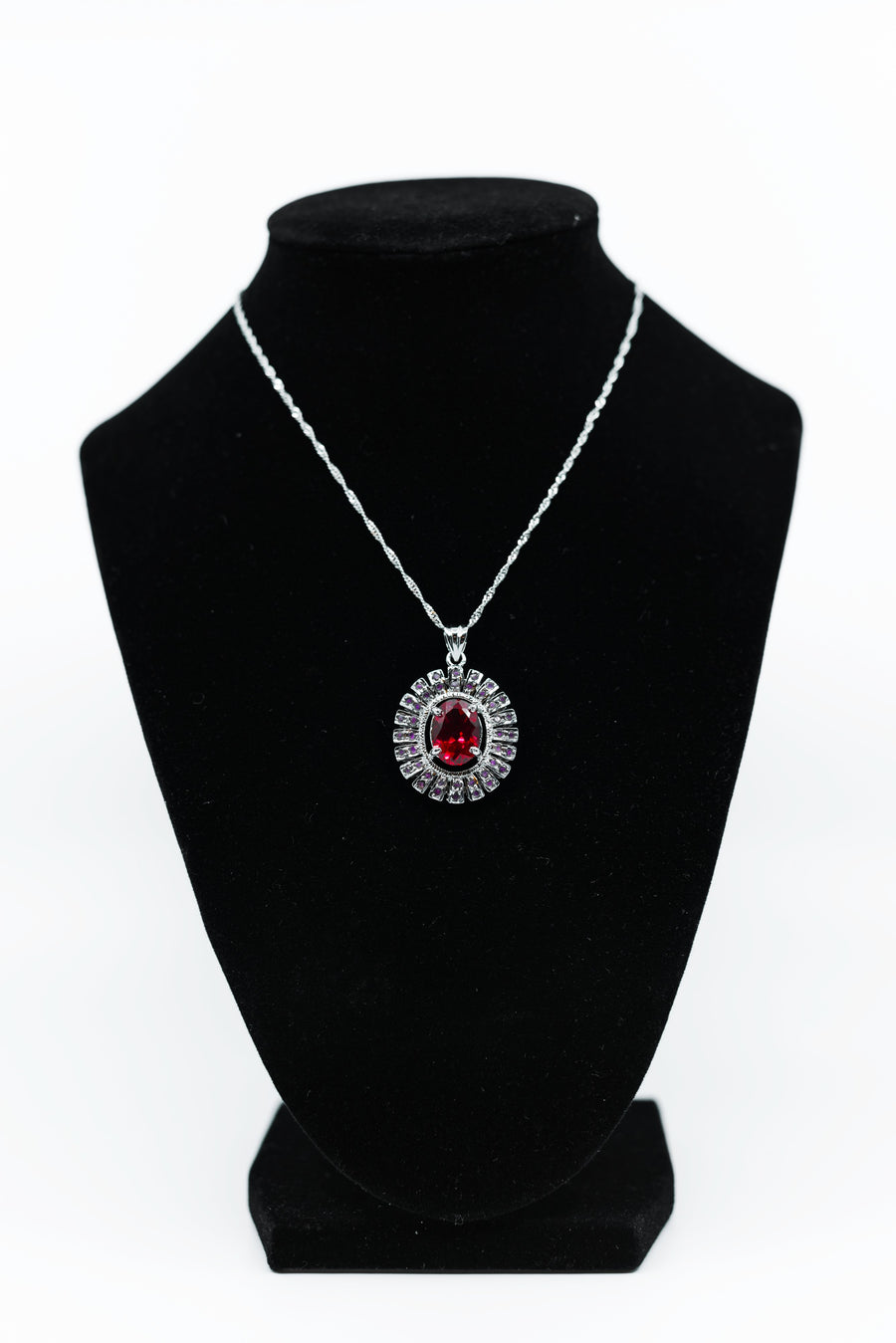 Genuine Red Topaz & White Sterling Silver Pendant Necklace