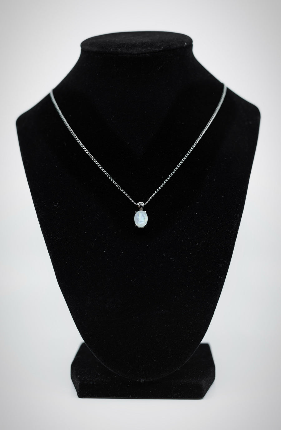 Frosted Drop Pendant with White Sterling Silver