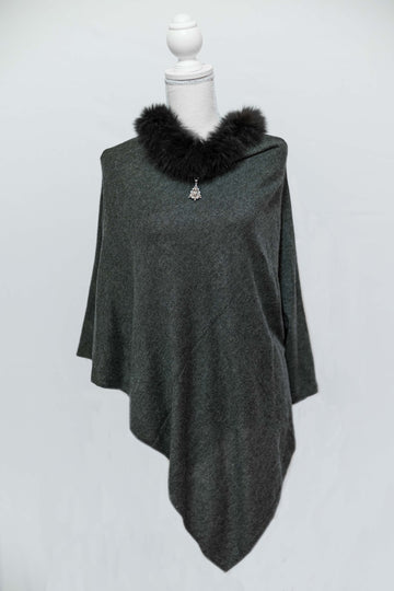 Charcoal Black Cashmere Poncho