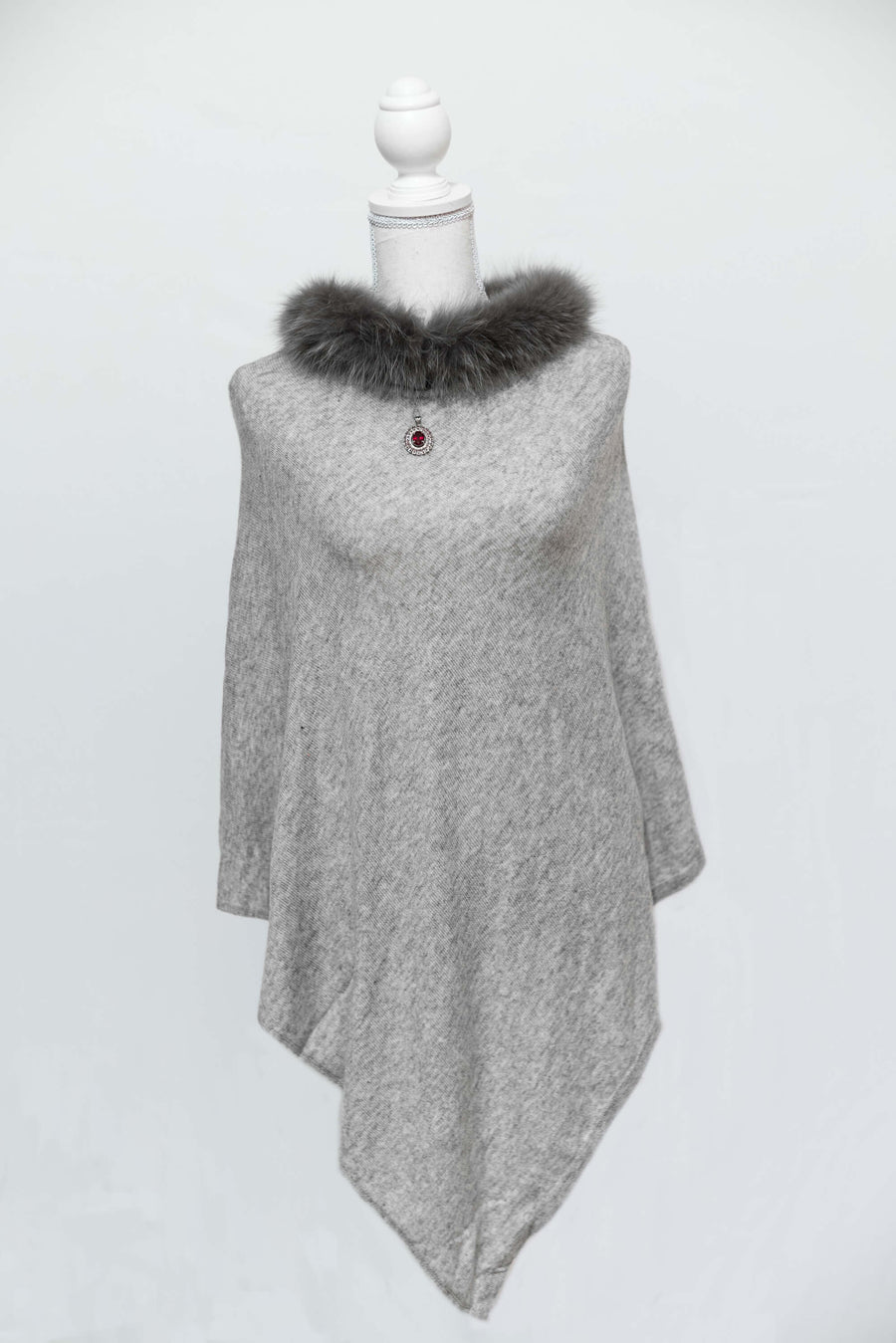 Grey and Charcoal Cashmere Poncho