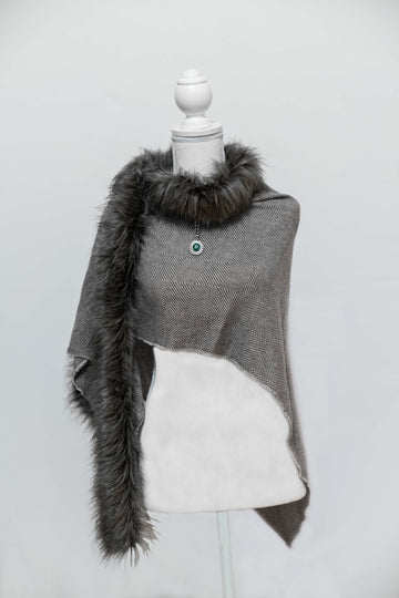 Charcoal & Grey Faux Fur Shawl with Fasten