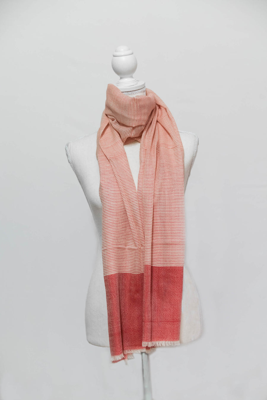 Two-Toned Horizontal Red & Peach Cashmere Stole