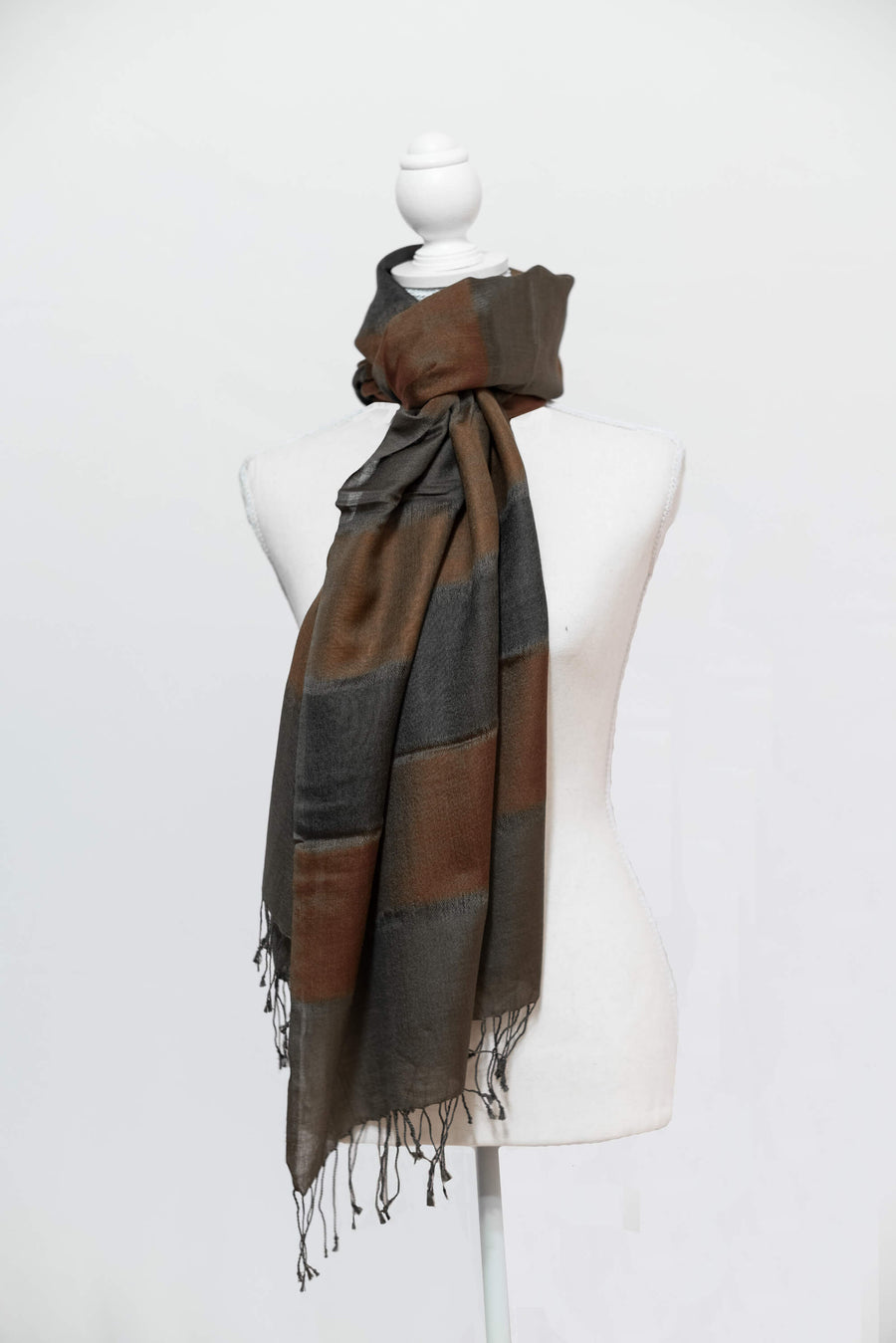 Two-Tone Olive Green & Rust Cashmere Stole w/ Tassels