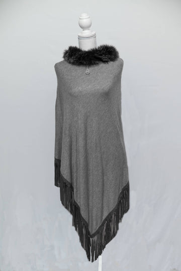 Grey & Black Cashmere Poncho with Tassle