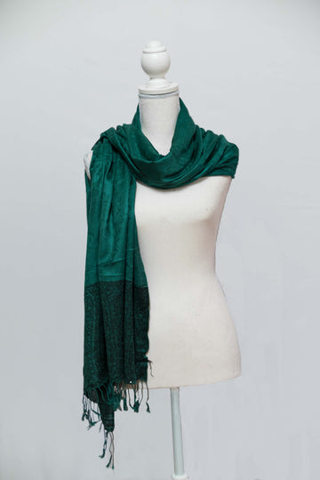 Two-Toned Emerald Green Cashmere Wrap with Tassle