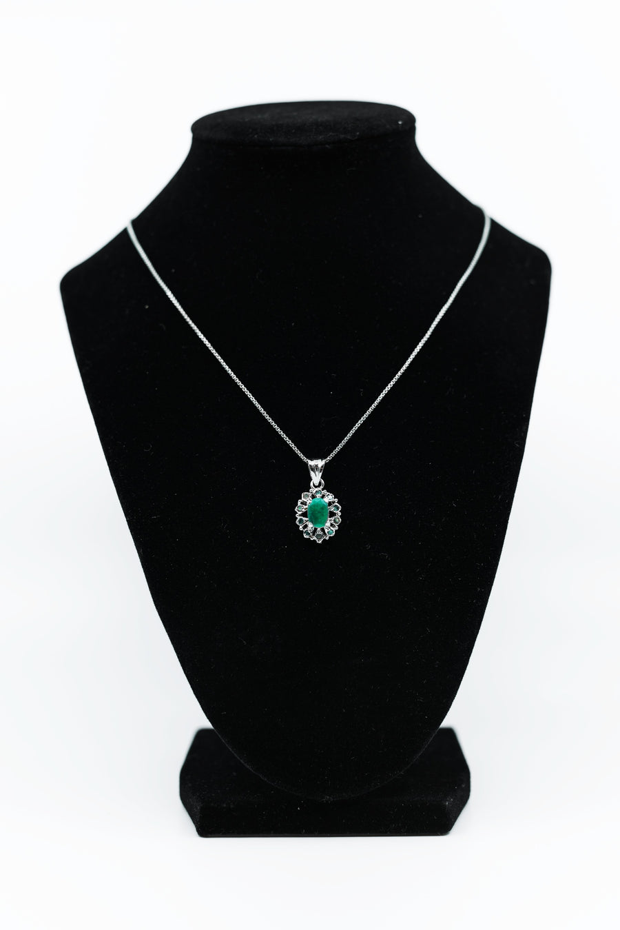 Round Green Drop Pendant with Sterling Silver Halo