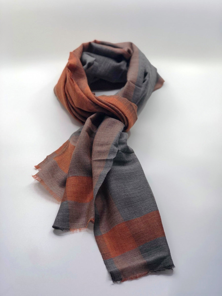 Three-Accent Sheer Burnt Orange w/ Charcoal & Grey