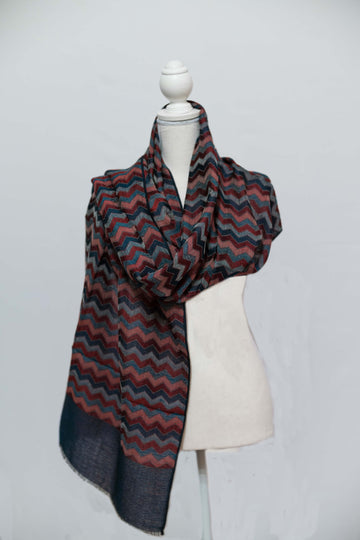Magenta & Blue Cashmere Wave Wrap