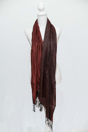 Two-Toned Sheer Burgundy Red Cashmere Wrap