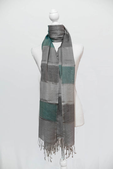 Three-Tone Emerald Green & Grey Cashmere Stole