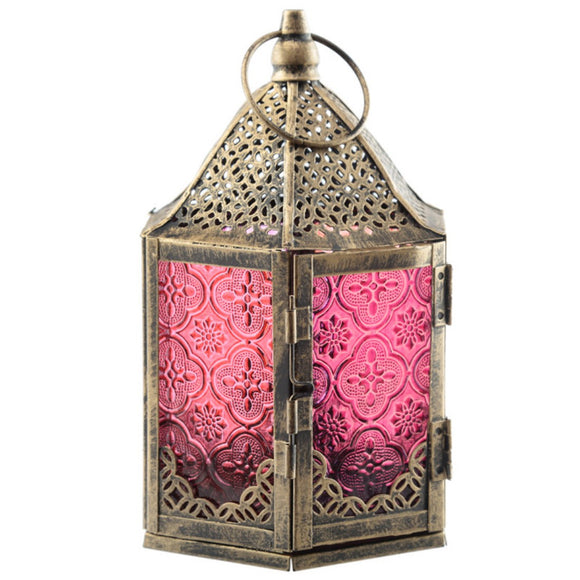 6 Sided Glass Moroccan Style Metal Standing Lantern