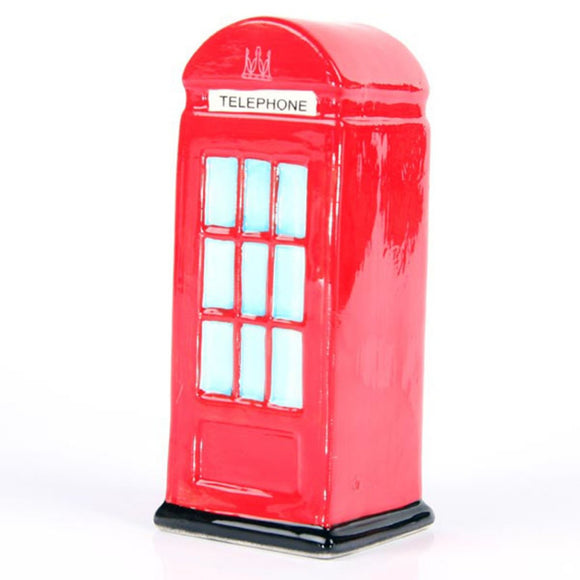 Fun Novelty Red Telephone Box Ceramic Money Box
