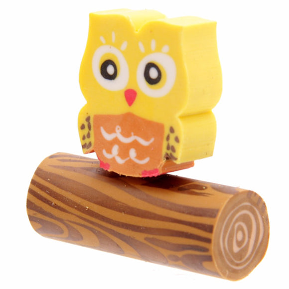 Fun Cute Owl Eraser Set