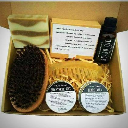 100% Organic Beard & Mustache Care Kit & Gift Set