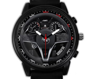 alfa romeo giulia qv quadrifoglio Steering Wheel Silicone band watch red stitching wristwatch watefproof steel