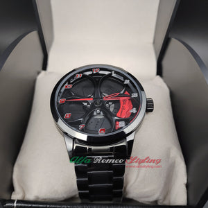 Alfa Romeo 3D wheel watch red calipers black with numbers waterproof Stainless steel