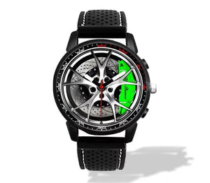 Giulia QV Wheel Green Calipers Silicone band watch Silver V2