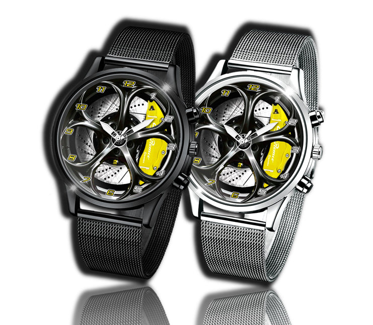 Alfa romeo watch Giulia QV yellow Wheel Calipers Kingdom burnished steel stelvio quadrifoglio wristwatch orologio