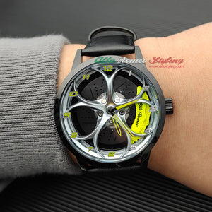 alfa romeo qv 3D wheel watch wristwatch orologio yellow calipers