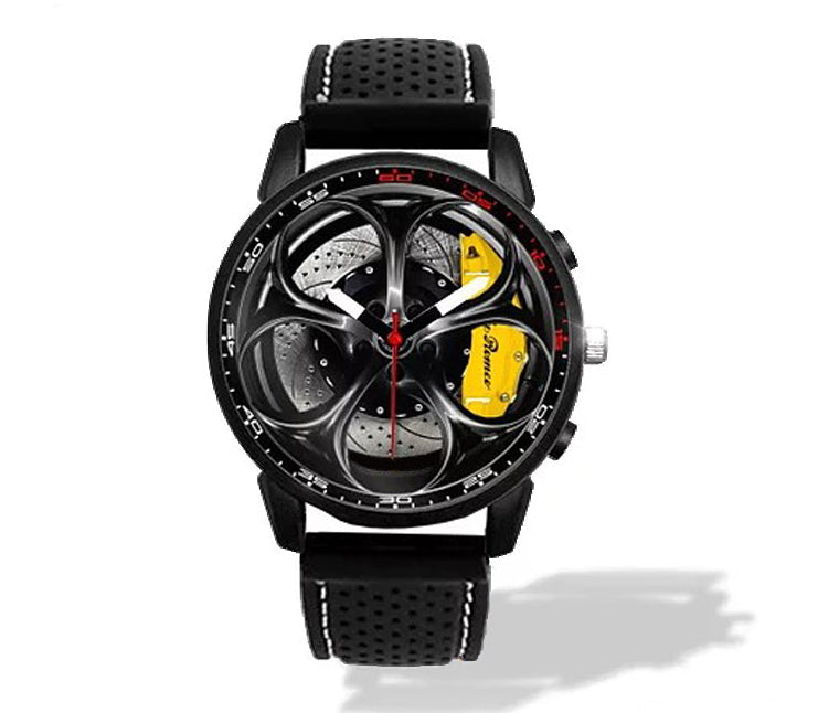 Giulia QV Wheel Yellow Calipers Silicone band watch Gunmetal V2