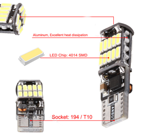 2X  LED W5W T10 Canbus 26 SMD Bulbs