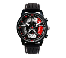 High quality, stylish, unisex Alfa Romeo wristwatch, with matte black steel case and silicone band. Protected by mineral glass. Inspired by design of Alfa Romeo Giulia Quadrifoglio Wheels/Calipers. Movement made by Quartz.
