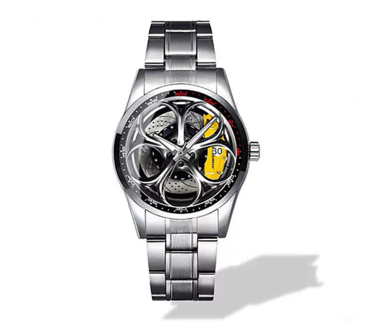 Giulia QV Silver Wheel Yellow Caliper Diamond Watch