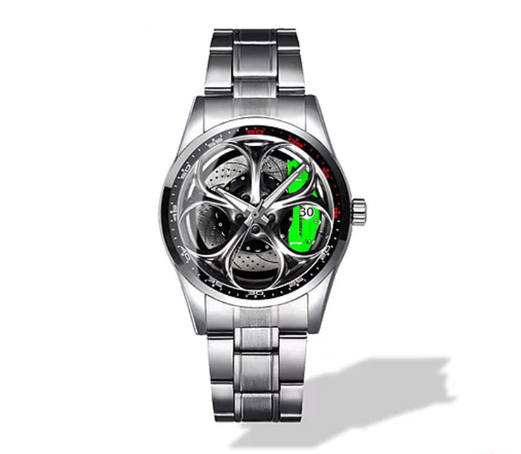 Giulia QV Silver Wheel Green Caliper Diamond Watch
