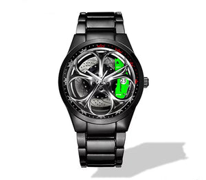 Giulia QV Silver Wheel Green Caliper Nero Corse Watch