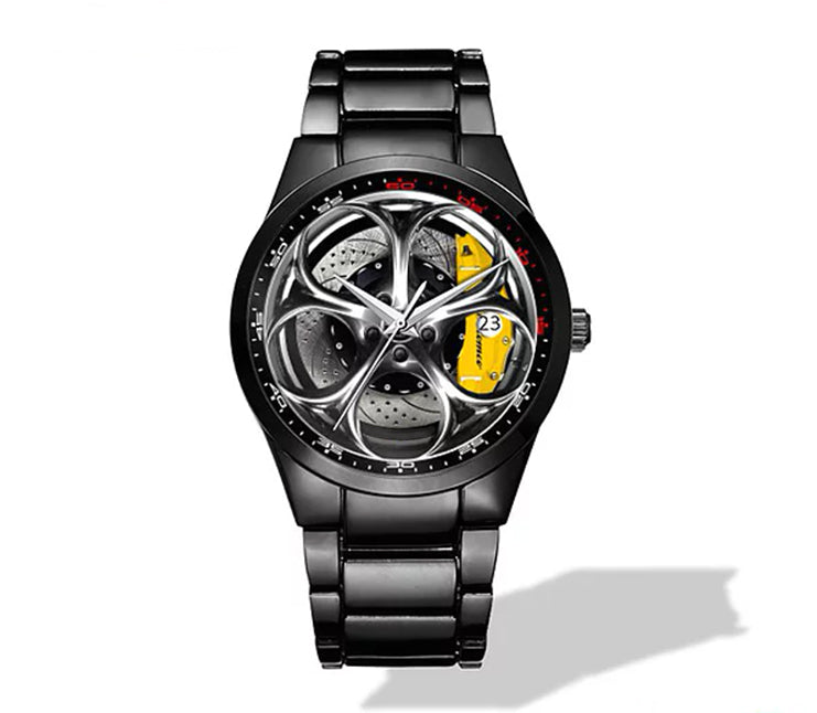 Giulia QV Silver Wheel Yellow Caliper Nero Corse Watch