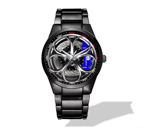 Giulia QV Silver Wheel Blue Caliper Nero Corse Watch