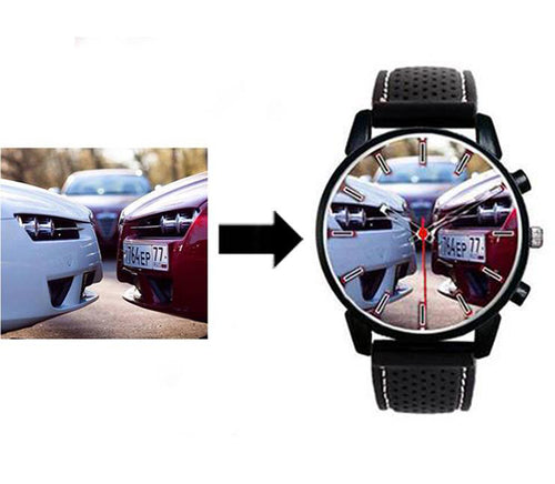custom silicone band red white stitching watch wristwatch put your photo on watch