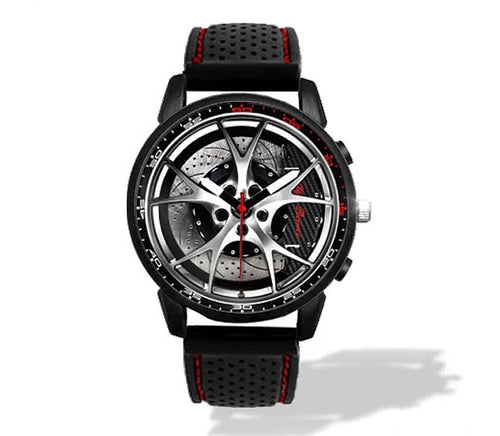 Giulia QV Wheel Carbon Calipers Silicone band watch Silver V2