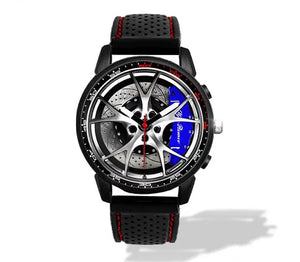 Giulia QV Wheel Blue Calipers Silicone band watch Silver V2