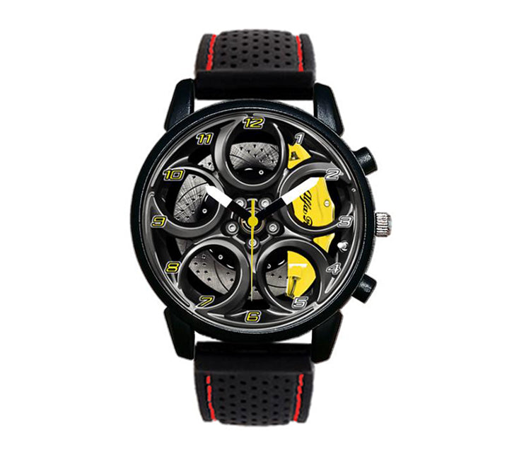 4C Wheel Yellow Calipers Silicone band watch stelvio quadrifoglio wristwatch orologio red stitching