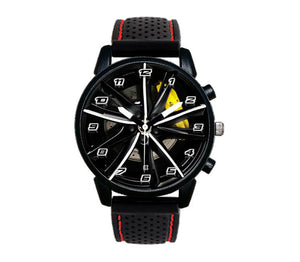 alfa romeo Giulietta Turbine Wheel Silicone band watch wristwatch orologio yellow stitching red wristwatch