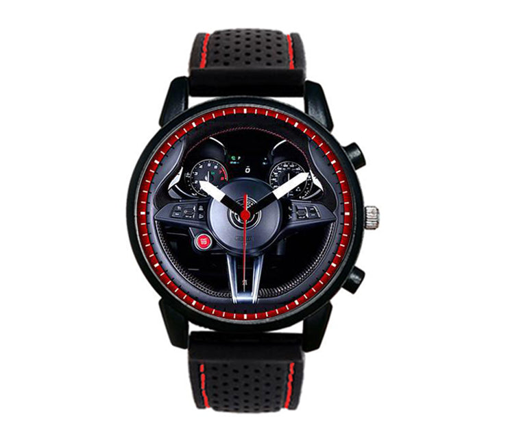 Alfa romeo Giulia QV Steering Wheel Silicone band watch stelvio quadrifoglio wristwatch orologio red dials stitching