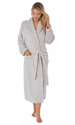 Marlon Dressing Gown S / Grey Wrap Style Fleece Dressing Gown - Plum - Grey - Navy