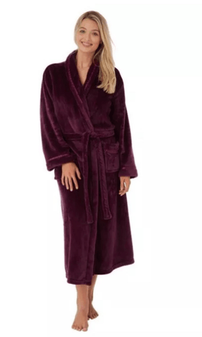 Marlon Dressing Gown S / Plum Wrap Style Fleece Dressing Gown - Plum - Grey - Navy
