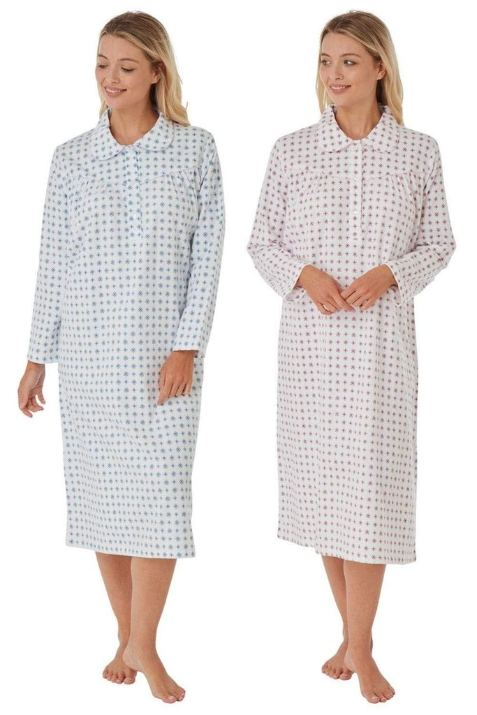 Marlon Nightdress 100% Cotton Wincyette Print Long Sleeve Nightdress