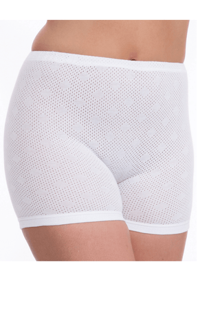Pure Night Briefs 100% Cotton Eyelet Pantee - White